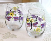 Hand Painted Purple Dragonfly Stemless Wine Glasses, Set of Two