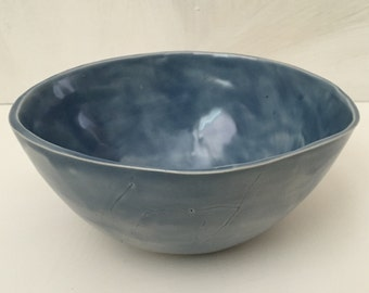 Light storm glossy blue bowl