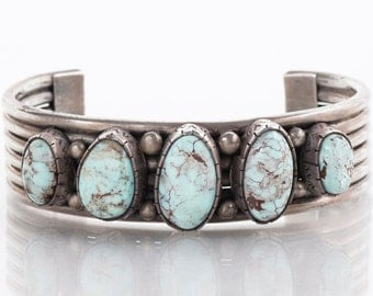 """Vintage Cuff - Vintage Signed """"M. Guerro"""" Sterling Silver Turquoise Cuff"""