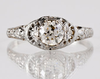 Antique Engagement Ring - Antique 1910s 18K White Gold Diamond Engagement Ring
