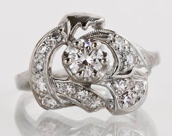 Antique Engagement Ring - Vintage Diamond Engagement Ring - 14K  White Gold with Diamonds