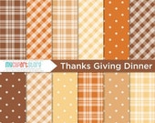 50% OFF SALE Digital Paper - Thanksgiving Dinner / Fall / Autumn / Thanksgiving - Instant Download