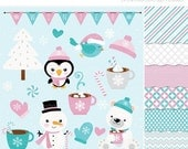 50% OFF SALE Clipart Combo - Frosty Friends / Christmas Clip Art / Digital Clipart - Instant Download