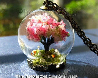 Terrarium necklace Cherry blossom tree necklace Miniature Terrarium Tree Jewelry Moss necklace Real Baby's breath necklace Miniature garden