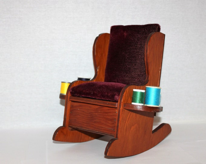 Primitive Handmade Wooden Rocking Chair Pincushion Sewing Caddy with Burgundy Velvet Cushions