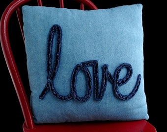 Decorative Upcycled Denim Chenille Love Pillow with Exposed Metal Zipper Closure