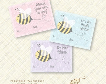 Bee Printable Valentines Cards or Labels valentine day card editable text instant download bumble honey friends purple pink blue digital pdf