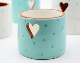 Ceramic Votive Holder - Votive Candle Holder - Votives - Tea Light Holder - Valentine's Day