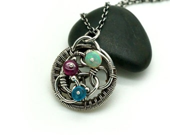 Wire wrapped pendant - Wire wrapped opal - Wire wrapped tourmaline - Ethiopian opal, Apatite, Tourmaline pendant