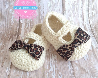 Crochet Baby Girl Booties, Leopard Baby Girl Booties, Baby Girl slippers