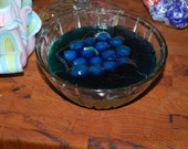 """Blueberry Fruit Candle in Glass Candy Bowl Scented New Handmade 6"""" Smells Great"""