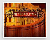 Paris illustration - Metropolitain - Metro sign Art Print Poster Paris art Paris decor Home decor Yellow Orange Architectural illustration