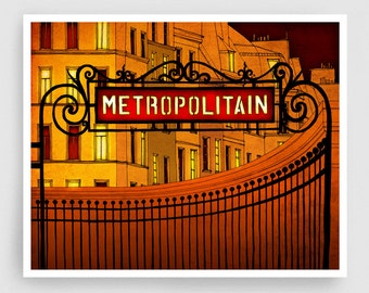 Paris illustration - Metropolitain - Metro sign Art Print Poster Paris art Paris decor Home decor Yellow Orange Architectural illustration