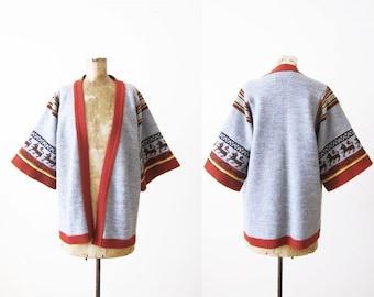 70s Cardigan / Kimono Cardigan / Boho Cardigan / Jantzen Cardigan / Robe Cardigan/ Southwestern Cardigan / Aztec Cardigan /