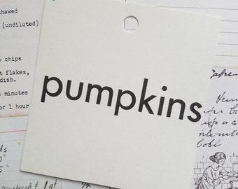 HUGE SALE Vintage 1960's Word Flash Card for Peg Board | Pumpkins | Thanksgiving | Halloween