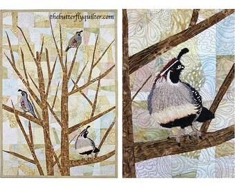 Quilted Wall Hanging, Fiber Art Quilt, Thread Art, Quail Quilt