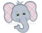 Zoo Head Elephant Applique Machine Embroidery Design Boy Girl Cute Jungle Safari animal INSTANT DOWNLOAD