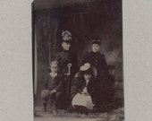 Tintype of a Beautifully Dressed Family of Four