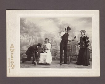Oversized Cabinet Card of Two Couples ~ Amusing Vignettes