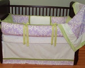 SALE! Custom Modpeapod Lavender Green Lilac Damask Crib Baby Bedding Set ONLY ONE on sale and ready to ship