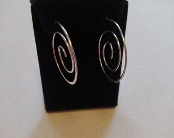 Sterling Silver Hoop Earrings in a Circulated Design