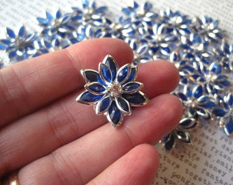Royal Blue Rhinestone Flower / 3 to 12 pcs 24mm Flat Back Rhinestone Flowers / Glam Flowers