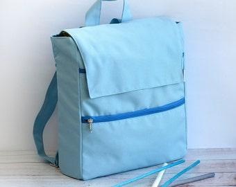Vegan Laptop Bag, Light Blue Fabric Backpack, Student Bag, College Backpack, Laptop Backpack, School Bag, Everyday Bag, Women Vegan Backpack