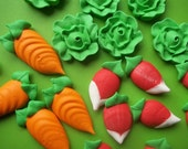 Royal icing vegetables -- carrot, lettuce, radish  -- Handmade cupcake toppers cake decorations edible (12 pieces)
