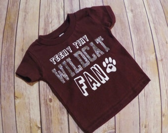 Infants maroon Teeny Tiny Wildcat Fan tshirt-Silver Glitter Tshirt-Football infant shirt
