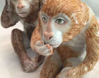 Pair  French Porcelain Monkey Figurines/ 20th Century/  Porcelain de Paris/ Bookends/ Cabinet Display/ Collectibles /Christmas Gift