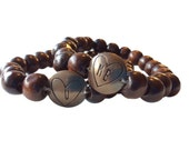 Custom made couples bracelets brass metal stamp with hearts & initials brown wood beads elastic bracelet with stamped embossed charm