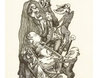 The Dead Mother - Giclée print, Saunders Waterford, pen and ink, drawing, fairy tale, death, naive, outsider, visionary, folk.