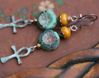 Rustic Bohemian * Redemption * earrings n.131 - religious faith . carved pink Czech flower . cross . garden Spring jewelry . spirituality