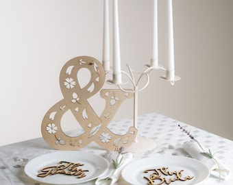 Wedding table ampersand wooden sign