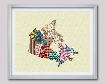 Canada Map,  Canadian Shop, Canadian Sellers, Canadian Gift, Canada Art Print Poster, Map Print