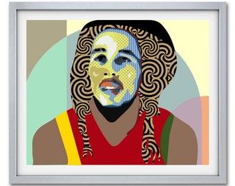 Bob Marley Poster, Bob Marley Art Work, Bob Marley Reggae Legend Painting, Rastafarian, Jamaican Art, Jamaican Gift