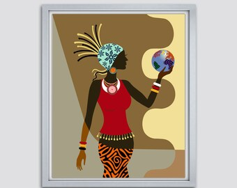 African American  Wall Art, African Woman, Afrocentric Decor Art, African Art painting, Black Woman Painting, African Print Decor