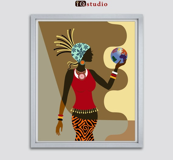 african american wall art african woman afrocentric by iqstudio. Black Bedroom Furniture Sets. Home Design Ideas