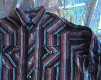 Wrangler Striped Western Button Down // 2X