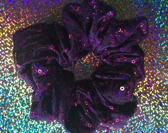 Purple SEQUIN Hair Scrunchie