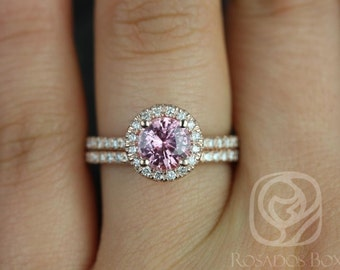 Rosados Box Callie 1.31cts 14kt Rose Gold Rosy Padparadscha Sapphire and Diamonds Halo Wedding Set