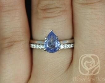 Rosados Box Skinny Jane 1.30ct & Tiffani 14k White Gold Denim Lilac Sapphire and Diamonds Wedding Set