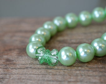 Chunky beaded necklace Mint green pearl necklace Murano style lampwork bead accent Big bold faux pearls Summer fashion jewelry for women