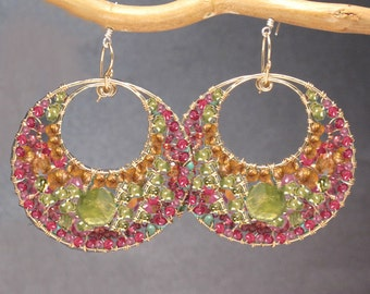 Hammered hoop earrings pink ruby, mandarin garnet, peridot, vessonite  Bohemian 178