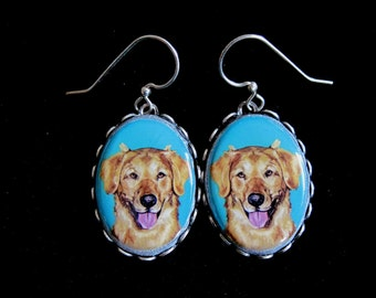 Golden Retriever Sterling Plate Earrings