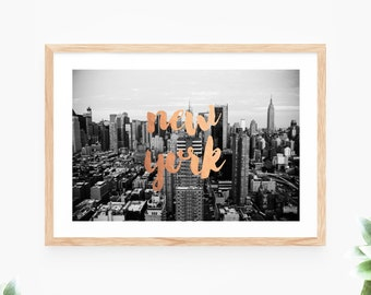 New York Printable Wall Art Bronze Foil Black and White Photo Instant Download Wall Decor Modern Wall Art Printable Art Large Poster Digital
