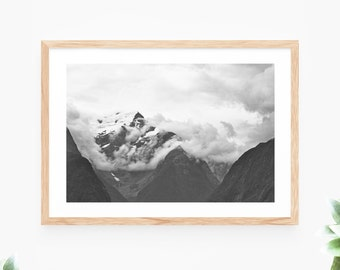 Landscape Printable Wall Art Instant Download Mountain Cliff Rock Face Photo Green Contemporary Wall Art Printable Poster Digital Print