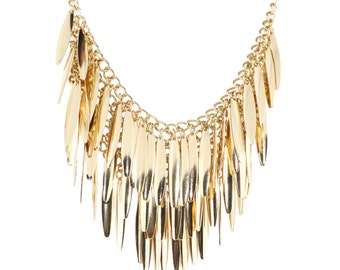 Exquisite Gold Tone Multi Fringe Similar Pendant Necklace,A15