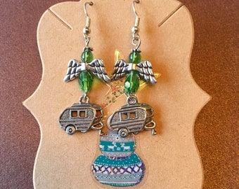 Vintage Trailer Earrings for Christmas, Angels and Green Crystals