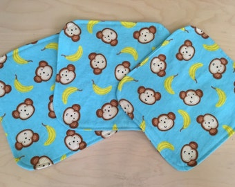 Set of 3- double flannel baby wipes/cloth wipes/ face cloths